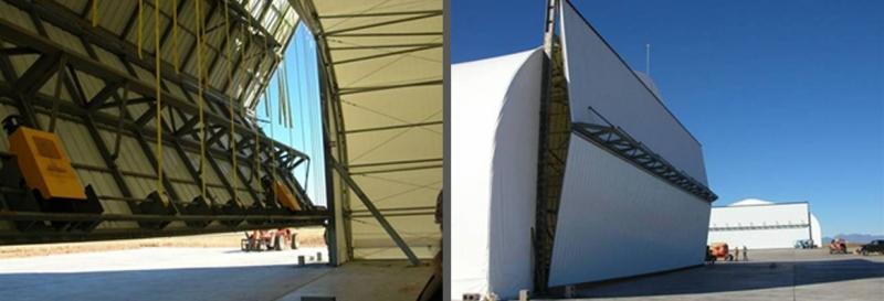fabric aircraft hangar bifold hangar door military