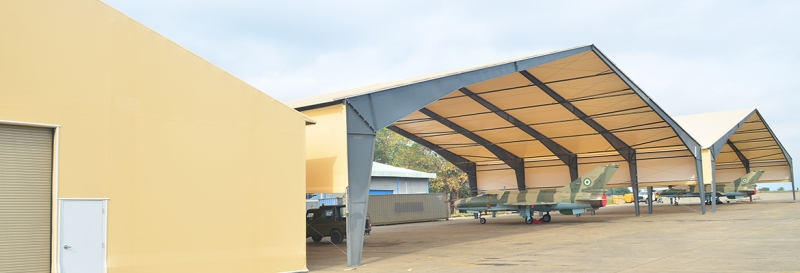 fabric structure military shelter open end walls tension membrane roof
