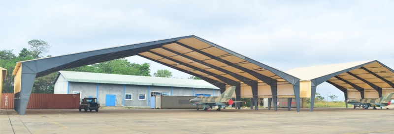 tension fabric shelters rigid steel frame hot dip galvanized open end walls