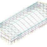 Perfil de Edificio de Estructura Metalica con Cobertura de Membrana Tensada.                                   Perfil de Edificio de Estructura Metalica con Cobertura de Membrana Tensada– Vista 3D