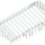 Perfil de Edificio de Estructura Metalica con Cobertura Tensada– Vista 3D con cobertizo apoyado