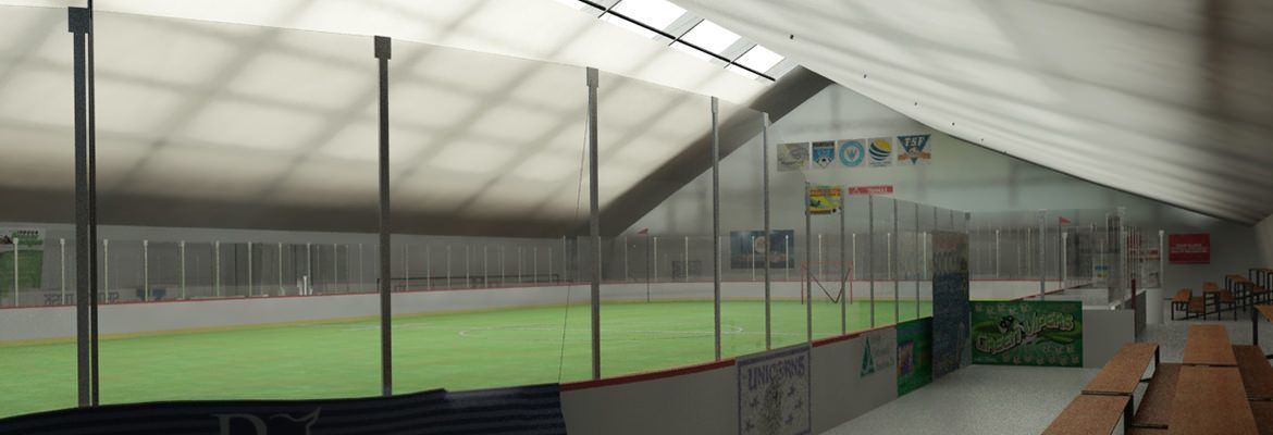 This fabric sports arena features a skylight for more natural conditions.