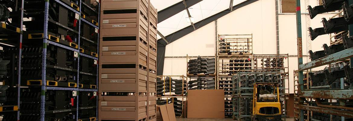 Straight side walls and a clear span design create a fabric warehouse with the most useable space.