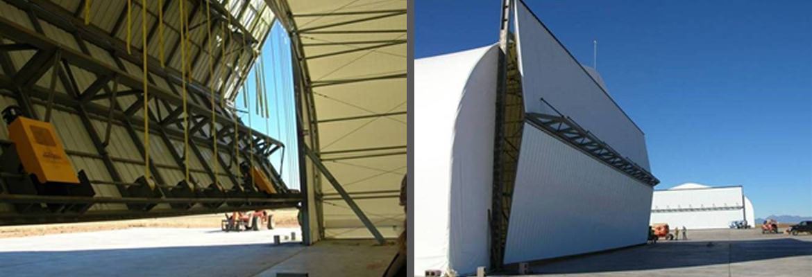 Fabric buildings are constructed quickly for military use.