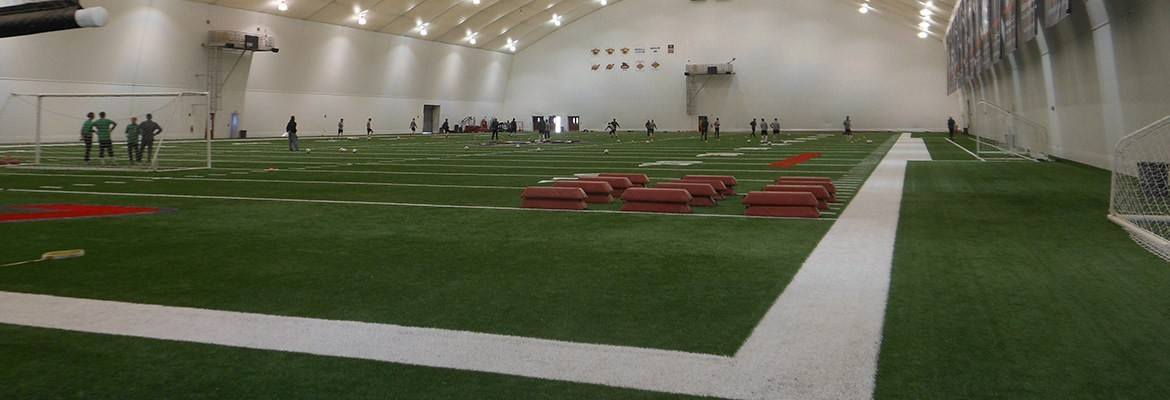 The length, width and height of a fabric arena are customizable for the practice and play space you need.